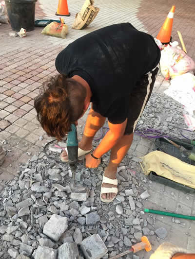 屏東墾丁H會館-麵包磚鋪貼-屏東貼磁磚