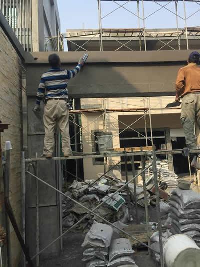 牌樓抿石工程-抿石子貼磁磚