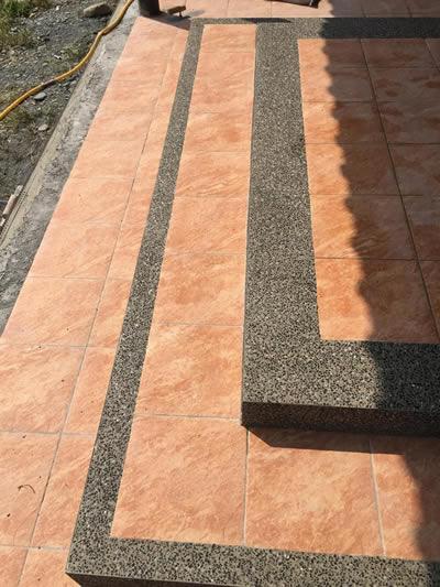屏東高樹鄉抿石工程-斜坡鋪地磚